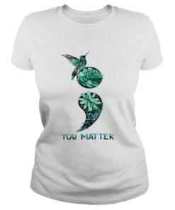 Ladies Tee Semicolon hummingbird suicide prevention awareness shirt