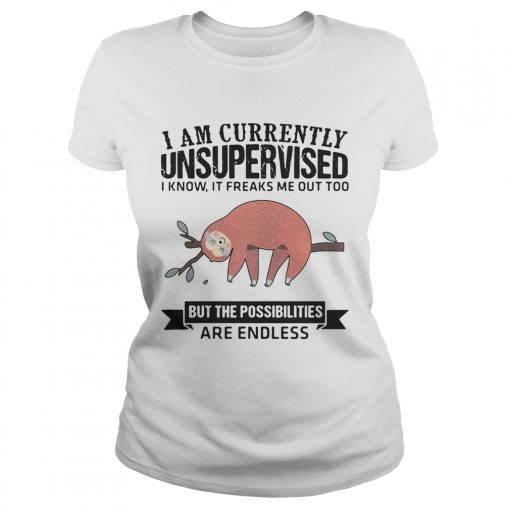 Ladies Tee Sloth I am currently unsupervised I know It freaks me out too but the possibilities are endless shi
