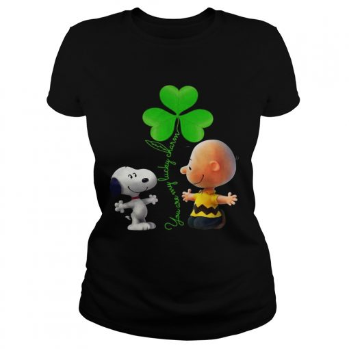Ladies Tee Snoopy and Charlie Brown Snoopy You are my lucky charm shirt