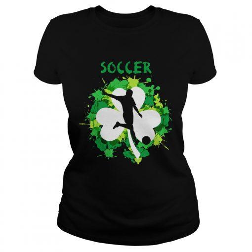 Ladies Tee Soccer Shamrock Irish St Pattys Day Sport Shirt