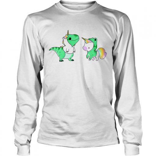 Longsleeve Tee Baby Dinosaur TRex and Unicorn shirt
