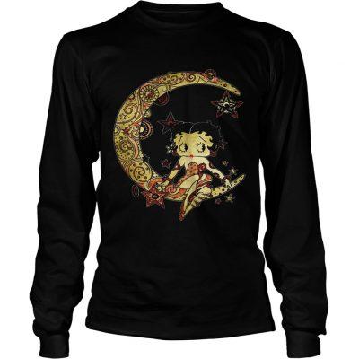 Longsleeve Tee Betty Boop sitting on the moon shirt