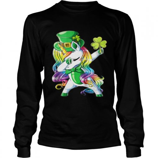Longsleeve Tee Dabbing unicorn Irish St Patricks shirt
