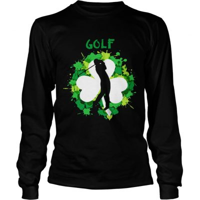 Longsleeve Tee Golf Shamrock Irish St Pattys Day Sport Shirt