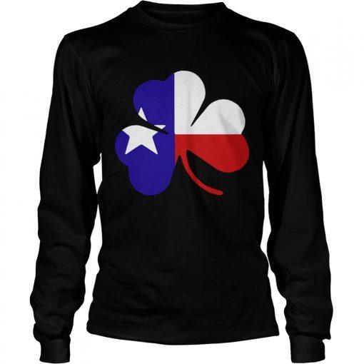 Longsleeve Tee Irish Texas Flag Shamrock St Patricks TShirt
