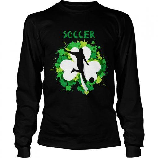 Longsleeve Tee Soccer Shamrock Irish St Pattys Day Sport Shirt