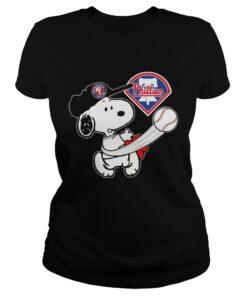 Snoopy Play Baseball TShirt For Fan Phillies ladies tee
