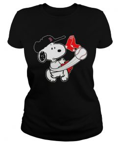 Snoopy Play Baseball TShirt For Fan Red Sox ladies tee