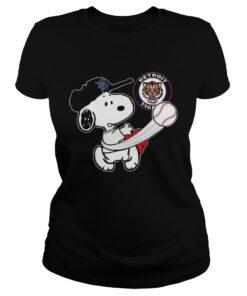 Snoopy Play Baseball TShirt For Fan Tigers ladies tee