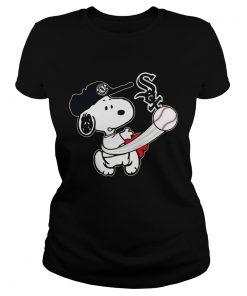 Snoopy Play Baseball TShirt For Fan White Sox ladies tee