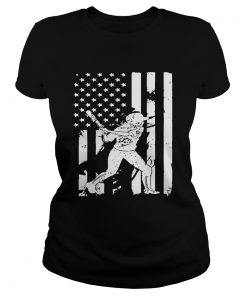 Baseball Player With American Flag ladies tee