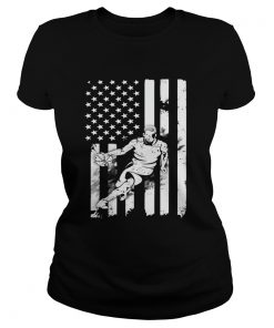 Basketball Player With American Flag ladies tee