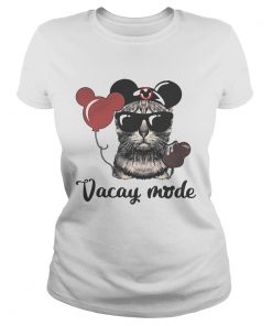 Cat with Mickey Mouse ears vacay mode ladies tee
