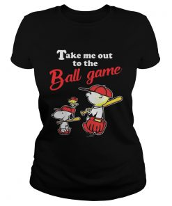 Charlie Brown Snoopy And Woodstock Take Me Out To The Ball Game ladies tee