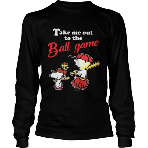 Charlie Brown Snoopy And Woodstock Take Me Out To The Ball Game longsleeve tee