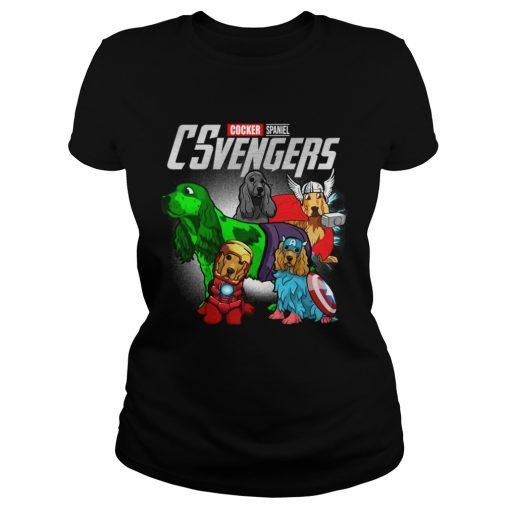 Cocker Spaniel CSvengers Marvel Avengers engame ladies tee