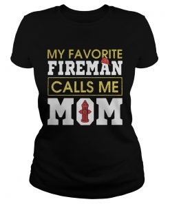 Diamond My favorite fireman calls me mom ladies tee