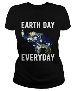 Earth Day Every Day Elephant Earth Symbol Earth Day ladies tee