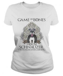 Game of Bones house Schnauzer the mailman is coming ladies tee