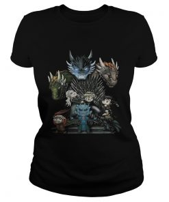 Game of Thrones Daenerys Targaryen Rhaegal and Viserion Chibi ladies tee