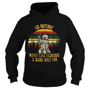 Go outside worst case scenario a bear kills you vintage sunset hoodie