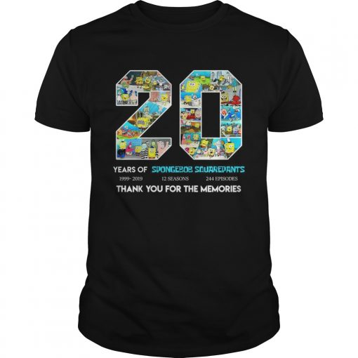 Guys 20 years of Spongebob Squarepants thank you for memories shirt