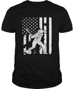 Guys Baseball Player With American Flag TShirt