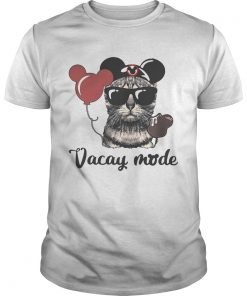 Guys Cat with Mickey Mouse ears vacay mode shirt