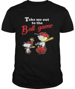 Guys Charlie Brown Snoopy And Woodstock Take Me Out To The Ball Game shirt