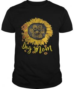 Guys Dog paw sunflower dog mom shirt