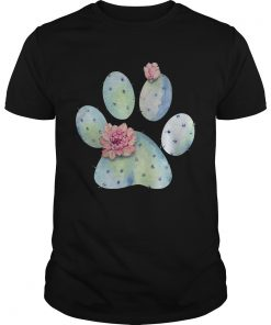 Guys Dog paws cactus and flowers shirt