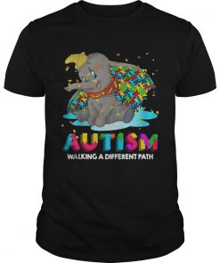 Guys Elephant autism walking a different path shirt