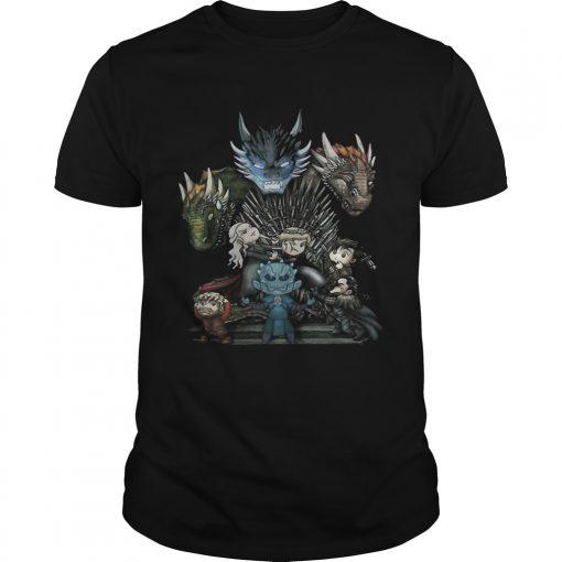 Guys Game of Thrones Daenerys Targaryen Rhaegal and Viserion Chibi shirt