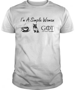 Guys Im a simple woman love coffee cat and Game of Thrones shirt