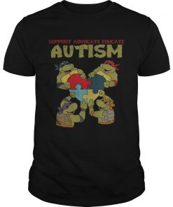 Guys Ninja turtle support advocate educate autism shirt
