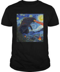 Guys Starry Night Godzilla shirt