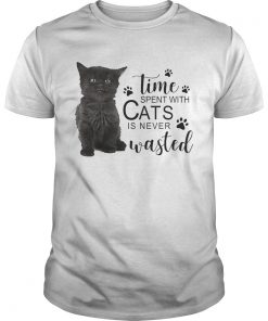 Guys Time spent with cats is never wasted shirt