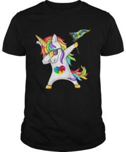 Guys Unicorn dabbing Autism Flag shirt
