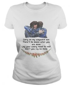 Jared Padalecki carry on my wayward son therell be peace when you are done ladies tee