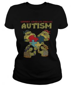 Ninja turtle support advocate educate autism ladies tee