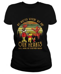 Poohs friends no matter where we are our hearts will bring us together again sunset ladies tee