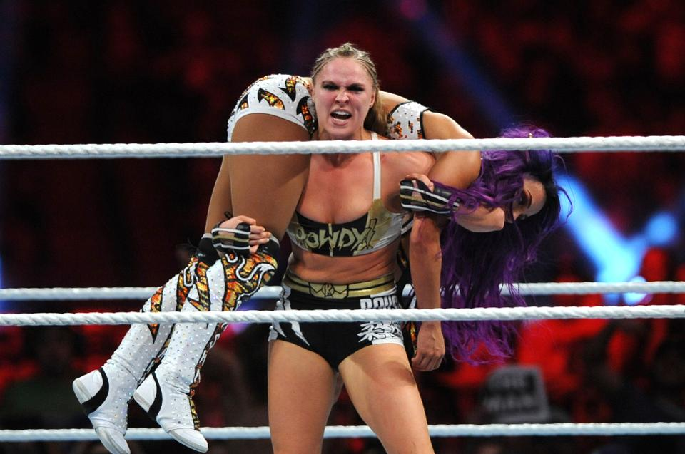 Ronda Rousey and Sasha Banks at WWE's 2019 Royal Rumble in January