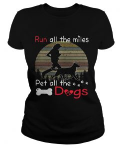 Run all the miles pet all the dogs retro ladies tee
