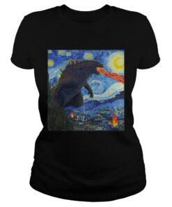 Starry Night Godzilla ladies tee