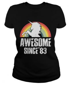 Unicorn awesome since83 retro ladies tee