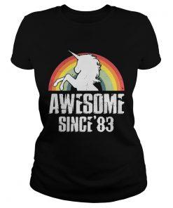 Unicorn awesome since83 retro ladies tee