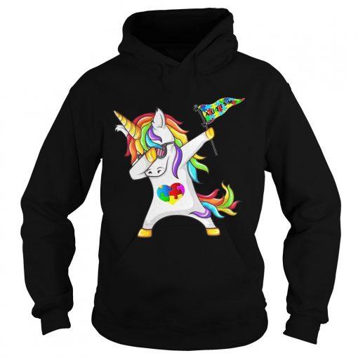 Unicorn dabbing Autism Flag hoodie