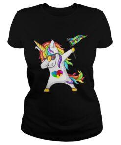 Unicorn dabbing Autism Flag ladies tee