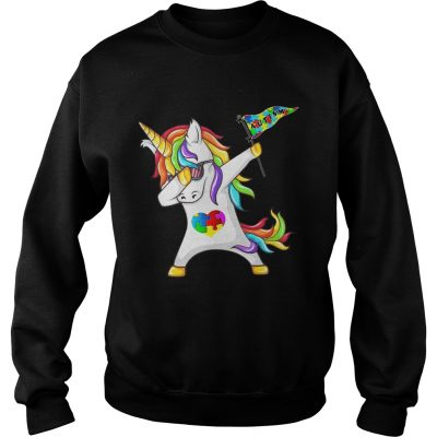 Unicorn dabbing Autism Flag sweatshirt