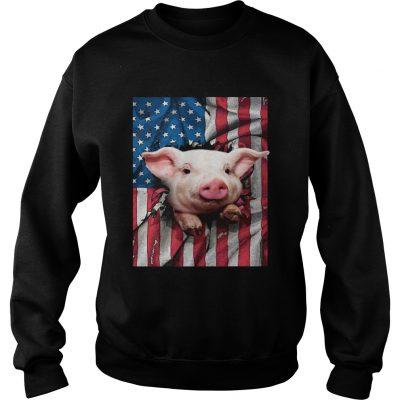 American Flag Pig Sweatshirt
